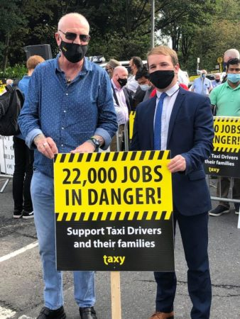 Donnchadh Ó Laoghaire TD, speaking after attending the Taxi Driver protest today outside Leinster House