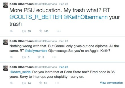 Screencaps from Olbermann's twitter feed.