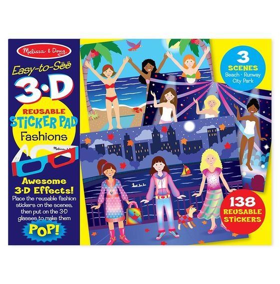 Easy To See 3 D Reusable Sticker Pad Fashions Corner Station