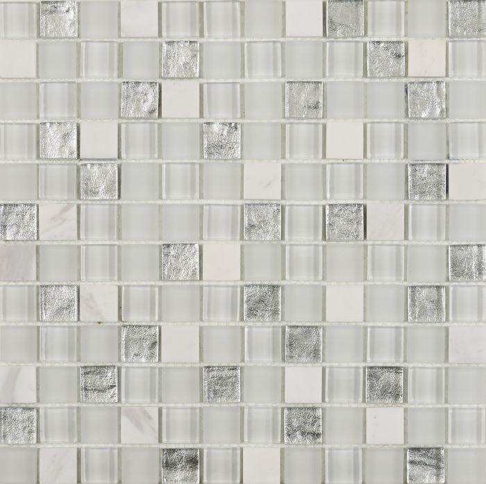 verona hutton white silver glass stone mix mosaic 23x23mm g30227