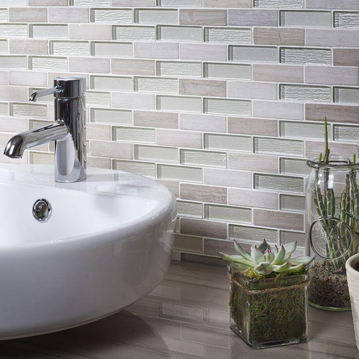 verona bailey grey white glass stone mix brick mosaic 20x73mm g30232