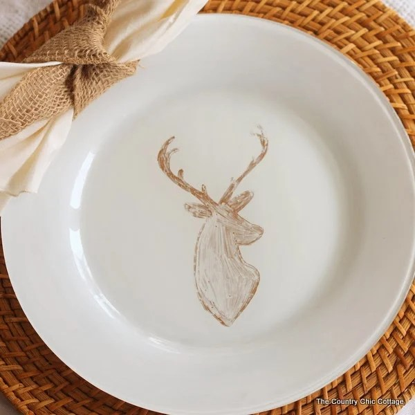 DIY Deer Painted Plates The Country Chic Cottage