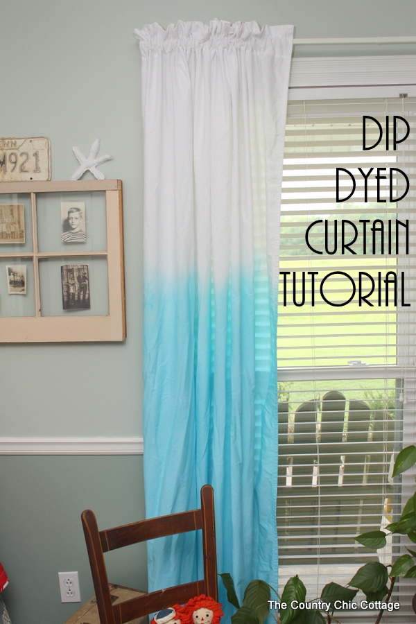 Turn Plain White Sheets Into Dip Dyed Curtains Easily