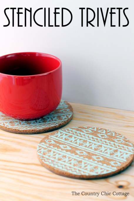 Make these easy stenciled trivets to give as gifts any time of the year!