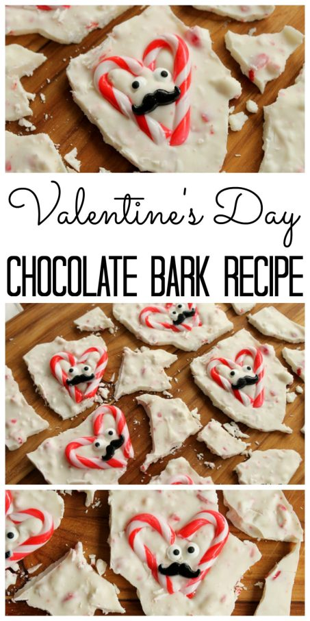 Make this Valentine's Day chocolate bark in just seconds! A delicious peppermint flavored bark using leftover candy canes!