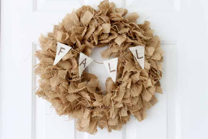 Make a fall burlap wreath with this simple technique!