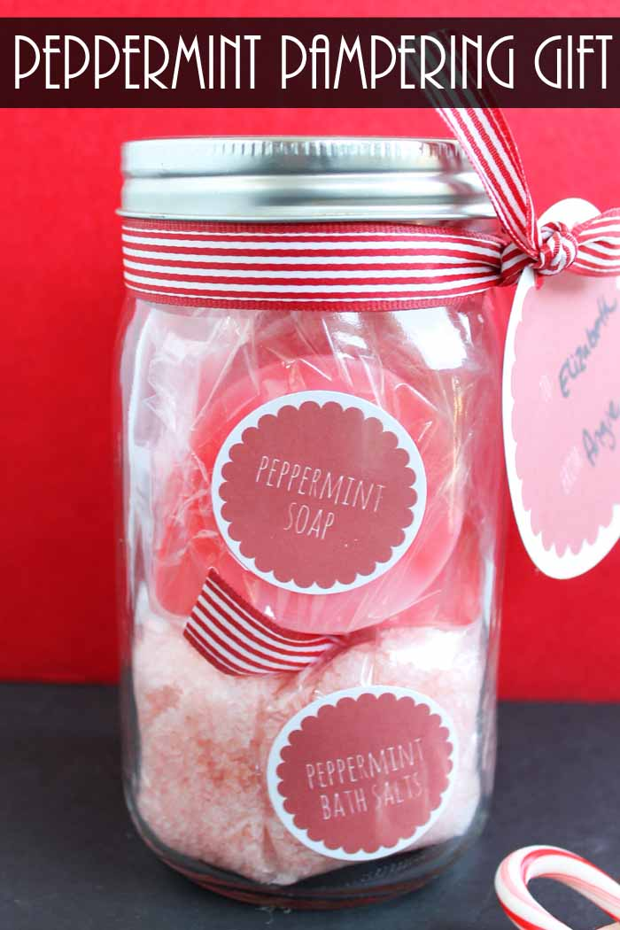 Learn how to make homemade peppermint soap then add them to this pampering gift in a jar!