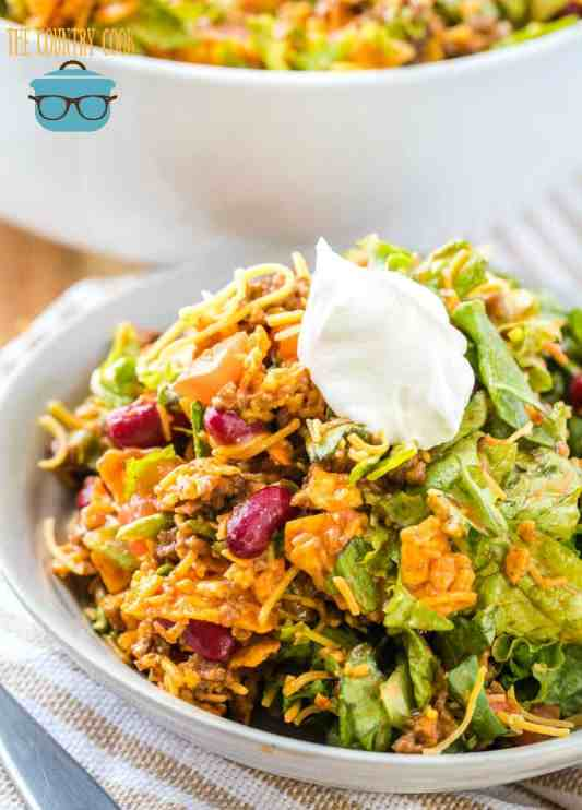 Dorito Taco Salad topped with sour cream