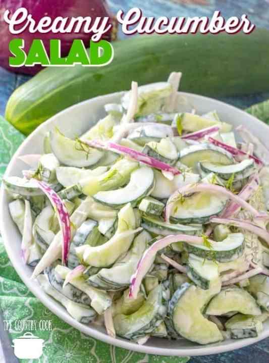 Creamy Cucumber Salad recipe from The Country Cook #salad #sidedish #cucumbers #dressing #fresh #summer #sidedish #TheCountryCook #recipes #recipe #ideas #lunch #freshcucumbers