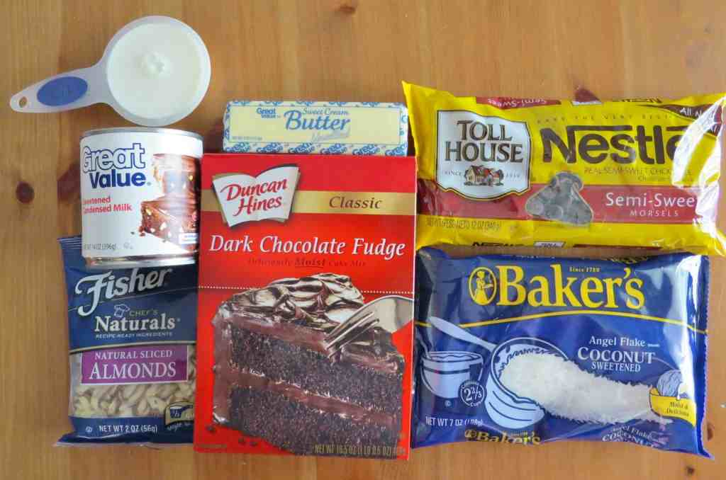 chocolate cake mix, sweetened condensed milk, sweetened coconut, chocolate chips, sliced almonds