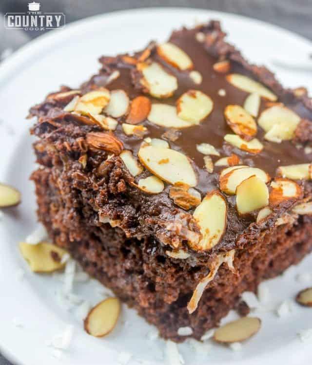 Almond Joy Cake, slice (chocolate, creamy coconut, chocolate cake)