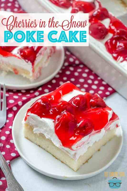 Cherries in the Snow pudding poke cake recipe from The Country Cook
