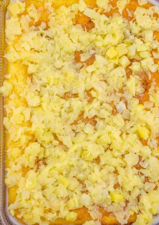 crushed pineapple on top of baked butter cake