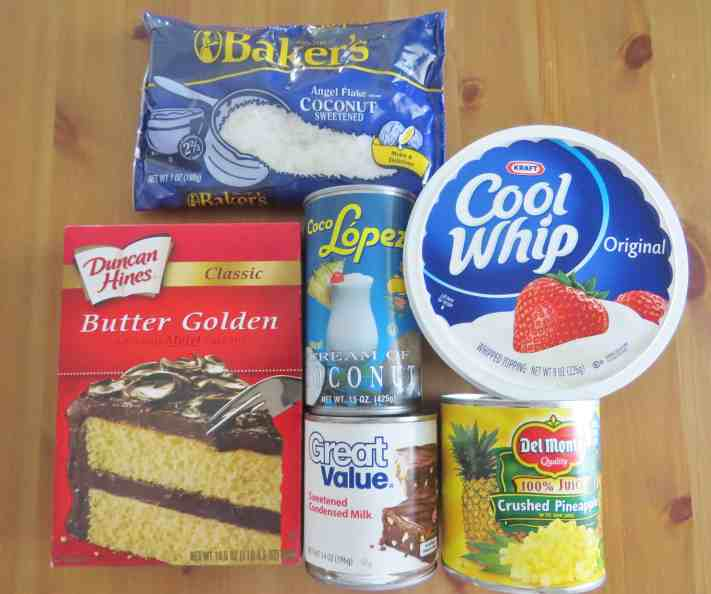 butter cake mix, crushed pineapple, cream of coconut, sweetened condensed milk, sweetened flaked coconut flakes, cool whip