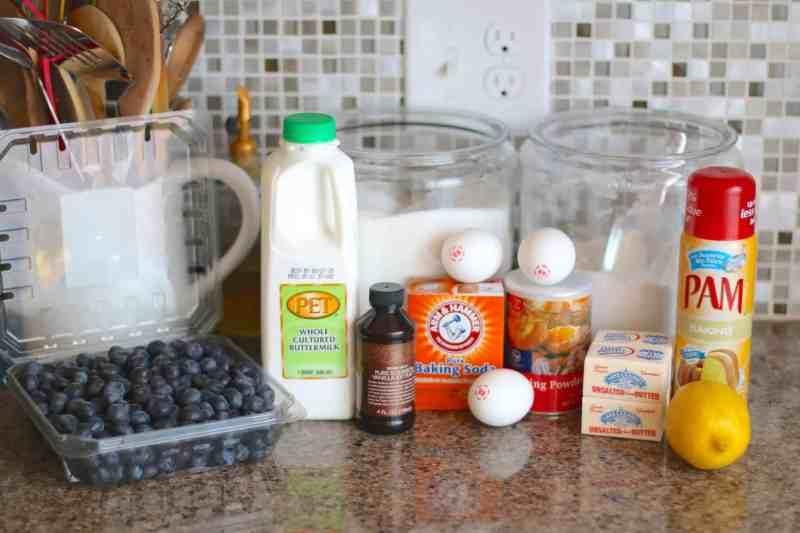 fresh blueberries, buttermilk, butter, vanilla, lemon extract, baking soda, baking powder, eggs