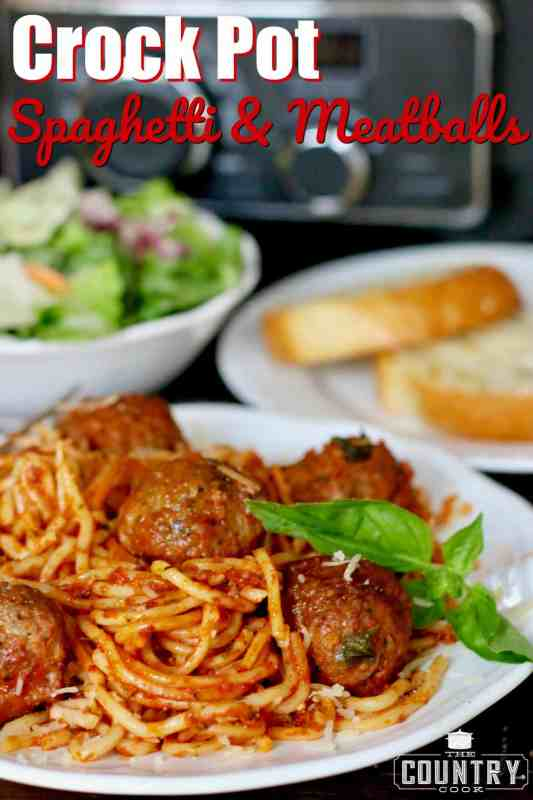 Crock Pot Spaghetti and Meatballs recipe from The Country Cook