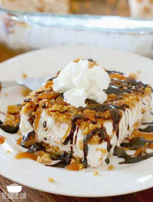 Fried Ice Cream Cake drizzled with honey