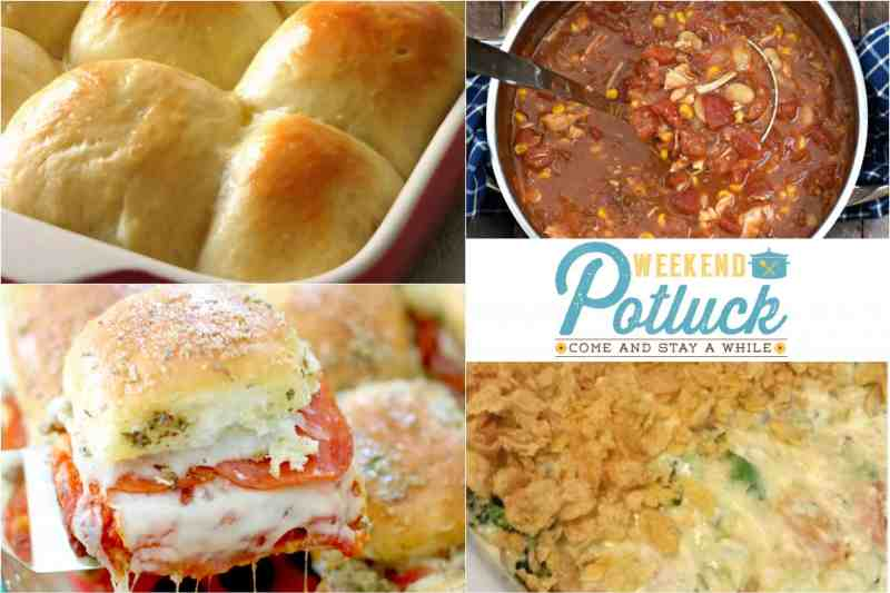 Weekend Potluck at The Country Cook. Featured recipes include: Alabama Camp Stew, Sweet Soft Light Rolls, Mom's Chicken Casserole, Pizza Pull-Apart Sliders