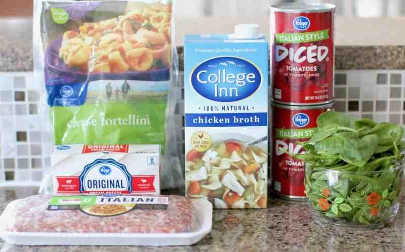 College Inn chicken broth, diced tomatoes, cheese tortellini, Italian sausage, cream cheese, spinach