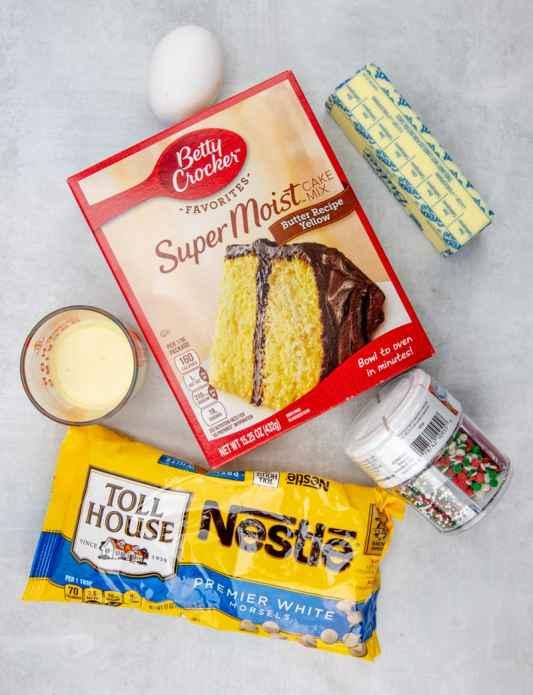 cake mix, egg nog, butter, egg, white chocolate chips, sprinkles