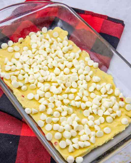 white chocolate chips on cake mix batter