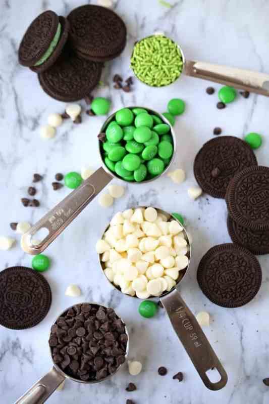 semi sweet chocolate, white chocolate, Oreos, sprinkles, M&M's
