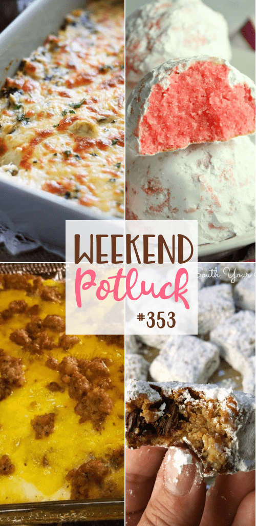 Weekend Potluck featured recipes include: Sausage Breakfast Casserole, Slow Cooker Spinach and Artichoke Dip, Man Bars and Peppermint Snowball Cookies #potluck #holidayrecipes