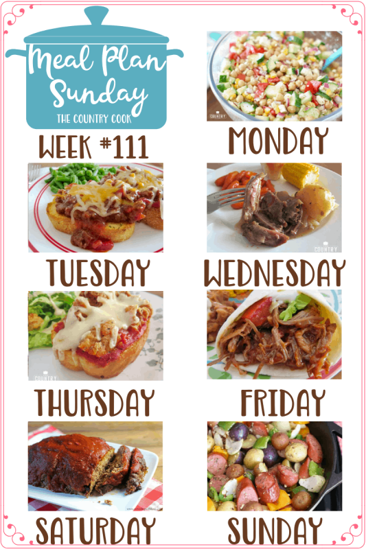Meal Plan Sunday recipes include: Garbanzo Bean Salad with Red Wine Vinaigrette, Cheesy BBQ Sloppy Joes, Slow Cooker 3-Packet Pot Roast, Garlic Bread Chicken Parmesan Pizzas, Crock Pot Taco Shredded Beef, Family Favorite Meatloaf, One Pan Little Potato Sausage Bake #mealplan #dinner