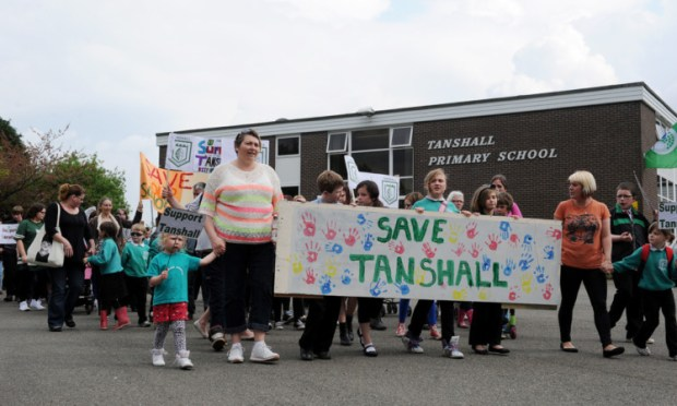 Parents have protested against the closure of Tanshall Primary School.