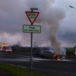 Car catches fire in dramatic blaze near Kirkcaldy
