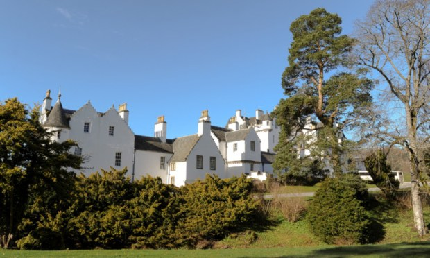 Blair Castle viewed from its grounds.