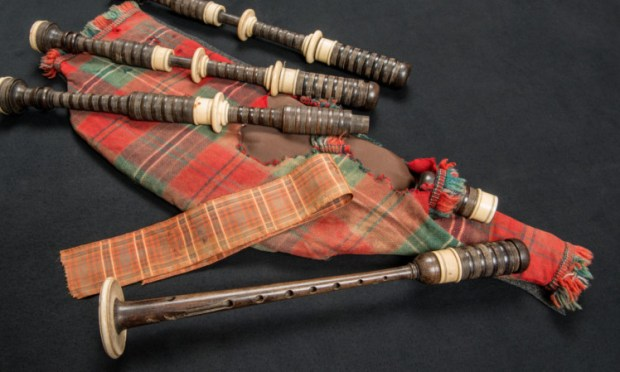 The bagpipes that were found in the mud at the Somme.