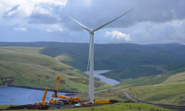 One of the turbines nearing completion.
