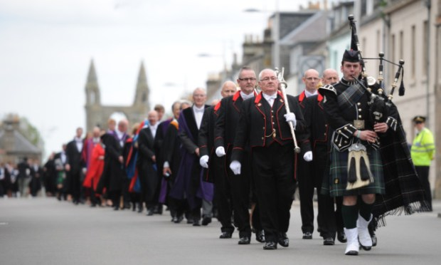 The St Andrews University graduation parade.
