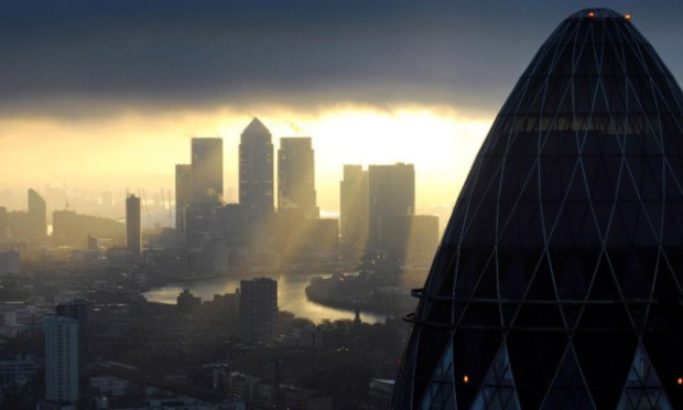 The sun shines on the City: UK financial services firms enjoyed strong growth in the last quarter.The sun shines on the City: UK financial services firms enjoyed strong growth in the last quarter.