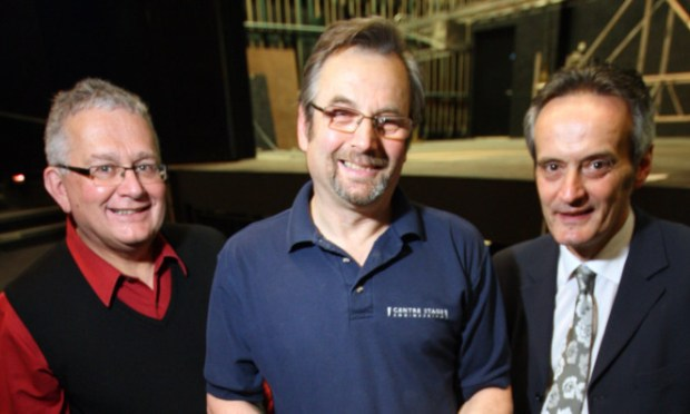 L/R, Keith McLaren of Carr & Angier, John Deacon - Director of CentreStage and Grant Ritchie - Creative Director at the theatre at the controls, testing out the new lift at the Gardyne Theatre.