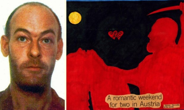 Sweeney and what police believe is a self-portrait of him and victim Melissa Halstead.