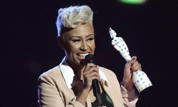 Emeli Sande collects the Best British Album award.