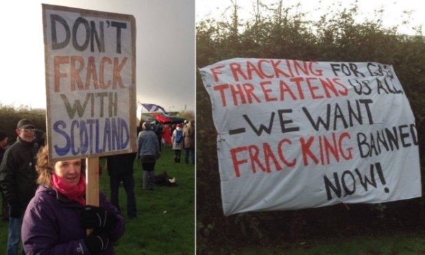 Demonstrators called on Fife Council to block any fracking development in the region.