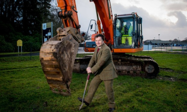 Sam Morshead breaking ground at Perth Racecourse for the new developments.