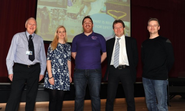 At the open night are, from left, Dunfermline High School rector Brian Blanchflower, fundraiser Sarah Johnstone, Ross Cowie, Professor Charlie Gourley and David Quinn.