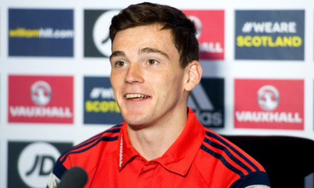 Andrew Robertson meets the media at Scotland's training camp.
