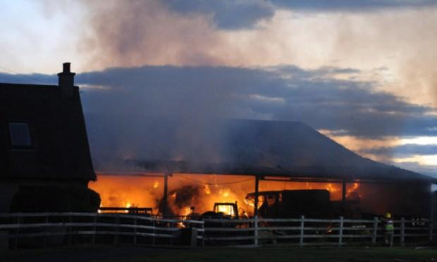 Barn fire at Walkmill farm near Crombie in Fife  (c) David Wardle