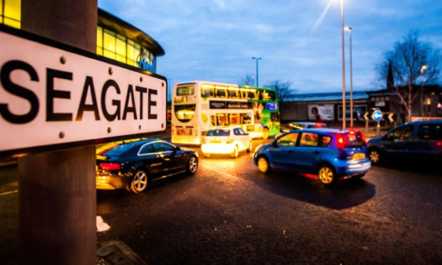 The busy Seagate in Dundee is one of Scotlands most polluted streets.