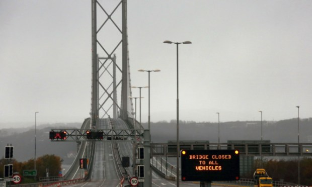 The Forth Road Bridge is closed as to all vehicles at the end of last year.
