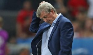 England manager Roy Hodgson looks dejected on the touchline during the match at Stade de Nice.