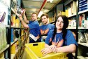 David Clunie, Chris Stewart and Paige Crosbie picking Prime Day orders at Amazon's Dunfermline fulfilment centre