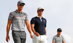 Henrik Stenson, Adam Scott and Zach Johnson on the first day at Troon. The Swede wasn't to be the odd man out of the trio for much longer...