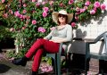 Anna has a rest from harvesting alongside rose Gertrude Jekyll