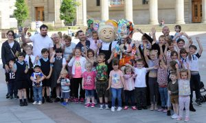 Youngsters thrilled by an appearance by Oor Wullie himself in Dundee City Square on Friday.